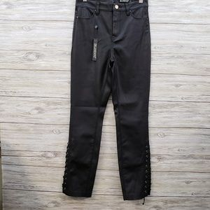 BlankNYC Vegan Leather Pants With Lace Up Ankles